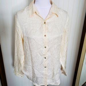 Vintage silk cream textured button blouse